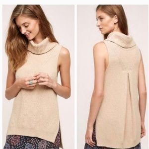 Angel of the North beige sleeveless turtleneck NWT